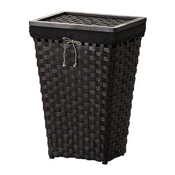 Ikea Knarra Waschekorb Mit Innenfutter Schwarz Braun Amazon De