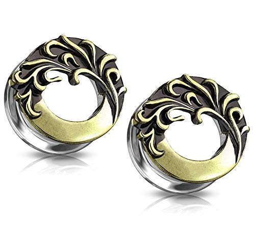 Covet Jewelry Antique Gold Plated Tribal Wave Front 316L Surgical Steel Screw Fit Flesh Tunnel Plugs (9/16 (14mm))
