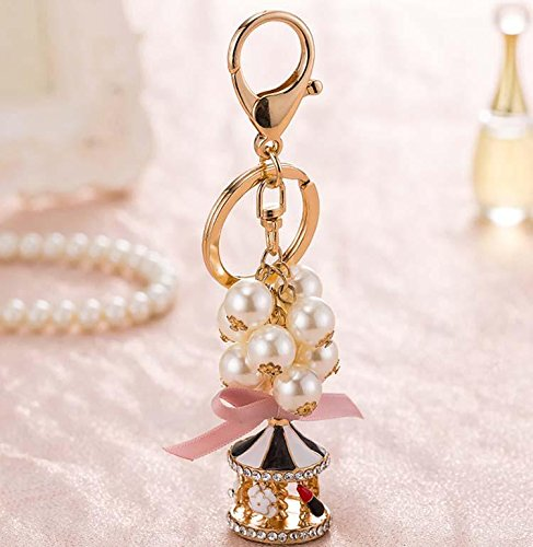 WWQY Korea creative cute beaded small lighthouse fine simple car key chain female bag pendant key chain jewelry , black oil tower 3710