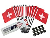 Box of 12 Switzerland 4''x6'' Polyester Miniature Office Desk & Little Table Flags, 4x6 Swiss Small Mini Hand Waving Stick Flags with 12 Flag Bases (Stands)