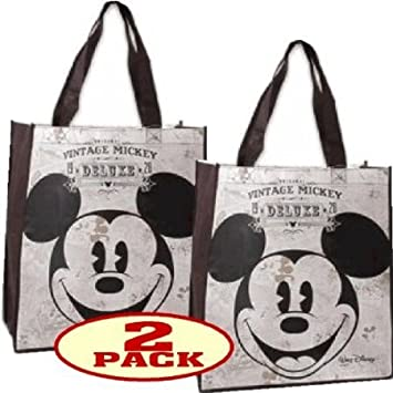 Amazon.com: Disney Vintage Mickey Mouse Tote Bag Reusable Grocery ...