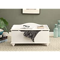 White Finish Toy Blanket Storage Chest Trunk Box Bench 32Wide