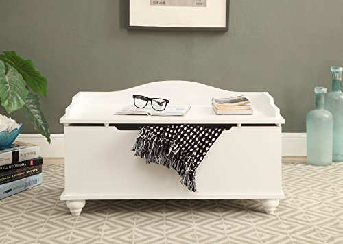 A blanket storage trunk with a white finish,