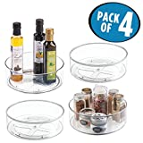 mDesign Lazy Susan Turntable Food Storage Container for Cabinets, Pantry, Refrigerator, Countertops, BPA Free - Spinning Organizer for Spices, Condiments, Baking Supplies - 9'' Round, Pack of 4, Clear