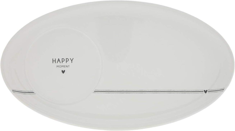 per colazione piatto ovale con motivo Happy Ment in ceramica bianca con scritta nera cuore e strisce in ceramica piattino da dessert e piatto da cucina caff/è tavolo coperto BC