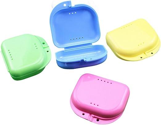 Milopon - Juego de 2 vasos para prótesis dental, con colador, caja de dientes, caja de recambio de dientes, caja para guardar prótesis, color aleatorio: Amazon.es: Hogar