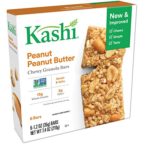 Kashi Chewy Granola Bars, Peanut Peanut Butter, Non-GMO Project Verified, 7.4 oz (6 Count)(Pack of 8) (Peanut Butter Kashi)