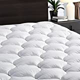 "LEISURE TOWN Cooling Mattress Pad Cover(8-21"" Deep Pocket)-Fitted Quilted Mattress Topper Hypoallergenic Down Alternative Fill (Queen Size, White)"