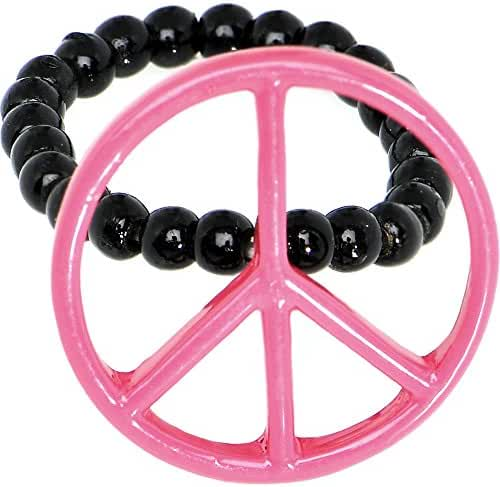 Pink Hollow Peace Sign Stretch Ring