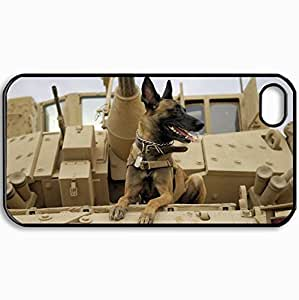 Customized Cellphone Case Back Cover For iPhone 4 4S, Protective Hardshell Case Personalized Dogs Dog In The War 22380 Black
