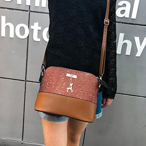 Bag Brown Bag PU Fashion Crossbody Messenger Handle For Sequins Satchel Top Shoulder Leather Brezeh Gray Bag Bag Women Handbag Tote HdqgwZTTAx