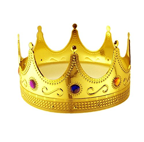 Tytroy Royal King Gold Jeweled Plastic Dress up Crown Costume -