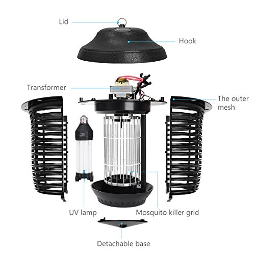 YUNLIGHTS Electric Bug Zapper, 40W Outdoor Mosquito Killer Lantern with Free Hanger, IPX4 Insect Fly Zapper Light for Patio, Gardens, Yards, Pool Area by YUNLIGHTS (Image #7)