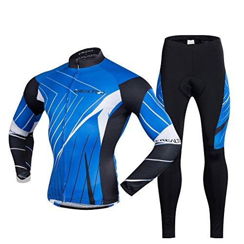 Gwell Maillot de Cyclisme Automne Chemise Manches Longues + Pantalon Vélo Long Bleu Noir