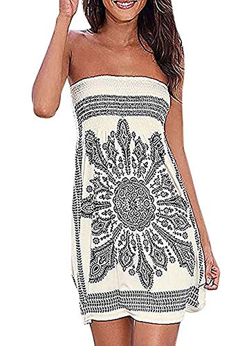 Womens Coverup Beach Dress Strapless Summer Bohemian A line Casual Fashion Sundresses(White,XL)