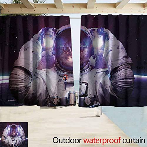 (Lcxzjgk Space Cat Outdoor Waterproof Curtain Kitty in Cosmonaut Suit in Galaxy Stars Supernova Design Image Darkening Thermal Insulated Blackout W72 xL72 White Purple and Dark)