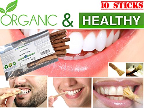 Pro Organic Care Neem Toothbrush Chew Sticks Natural Wild Organic Traditional Teeth Cleaning Twig Prevent Tooth Decay & Gum Disease Chewing Sticks Of Datun Oral Herbal Healthc [10 Sticks] SKU#4109-BX