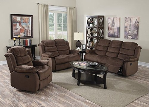 GTU Furniture Beige/Chocolate Short Plush Reclining Sofa Loveseat Set With Recliners (Sofa, Loveseat and chair, Chocolate)