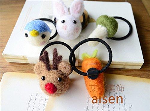 Generic Eisen deer rabbit wool felt cute animal fox Christmas gift hair rope hair ring Tousheng