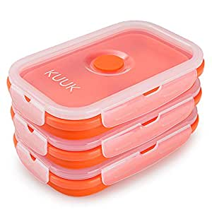 KUUK Collapsible Silicone Food Container - Medium Size (19 oz), 3 Pack