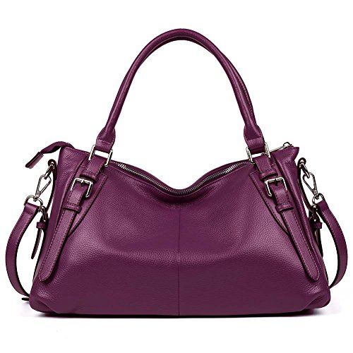 BOSTANTEN Soft Leather Handbags Tote Purses Shoulder Crossbody Bag for Women Rose Red