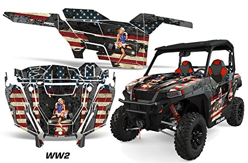AMRRACING Polaris General 2016+ Full Custom UTV Graphics Decal Kit - WW2 ()
