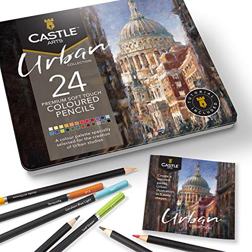 Castle Arts Themed 24 Colored Pencil Set in Tin Box, perfect Urban sketching colors featuring, smooth colored cores, superior blending & layering performance achieving great results