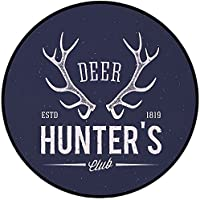 Printing Round Rug,Hunting Decor,Deer Hunters Club Logo Design with Antlers Retro Typography Shabby Icon Mat Non-Slip Soft Entrance Mat Door Floor Rug Area Rug For Chair Living Room,Navy Blue White