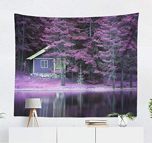 Summor Fantasy-Landscape Wall Tapestry,Tapestry Wall Hanging Purple Landscape Calm Lake Poster Landscape Forest Fantasy World Exotic WallDecor for Bedroom Living Room Tablecloth Dorm 80x60 Inches