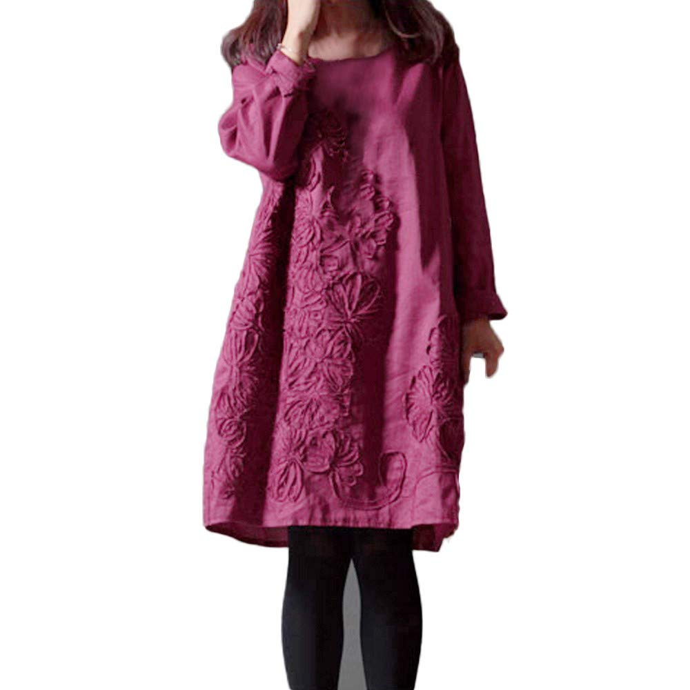 Farjing Women Daily Casual Floral Patchwork Cotton Linen Loose Solid Bohe Mini Dress(2XL,Purple