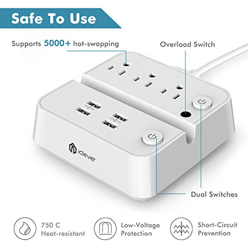[Separate Switch Control] iClever BoostStrip IC-BS02 Smart Power Strip | USB Charger with 4 USB + 3 AC Outlets, Dual Switch Control Charging Station and Phone/Tablet Stand - White by iClever (Image #3)