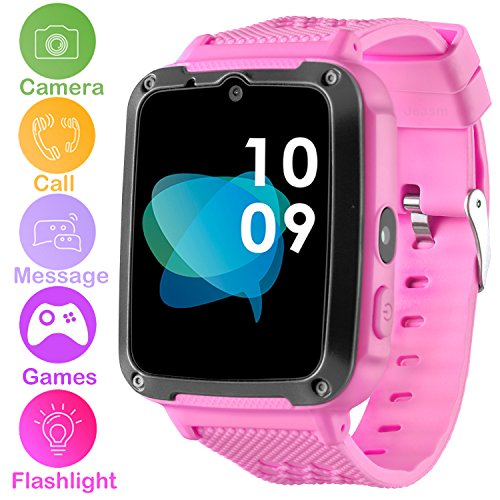 Kids Smartwatch Phone for Boys Girls - Games Smart Toy Watch with 1.54'' HD Touch Screen 2 Way Call Camera Flashlight Unlocked Phone Digital Bracelet for Summer Outdoor Sports Watch (Pink) by Jesam