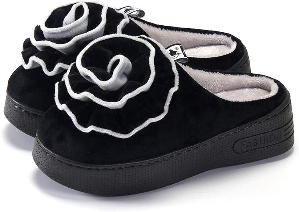 Chaussons Pantoufles en Coton pour Femmes Plate-Forme /à Talons Hauts avec Demi-Sangle et Chaussures de Ville imperm/éables