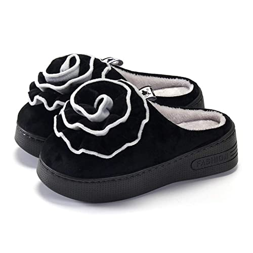 Plataforma de tacón Alto de algodón resbaladizo Medio Paquete para Mujer con Zapatos caseros Impermeables Zapatillas de algodón de cuña Zapatillas de Mujer: ...