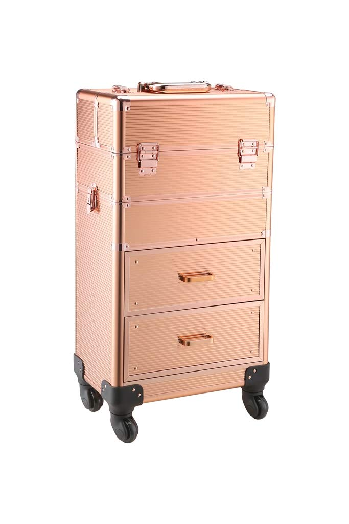 Rolling train case with drawers Makeup rolling train case Cosmetic organizer Makeup traveling case Makeup trolley (gold)