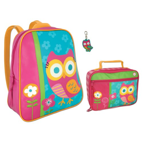 Stephen Joseph Girls Owl Backpack And Lunch Box With Zipper Pull