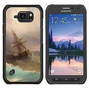 Caucho caso de Shell duro de la cubierta de accesorios de protección BY RAYDREAMMM - Samsung Galaxy S6Active Active G890A - Tormenta Pintura Vela Waves Arte