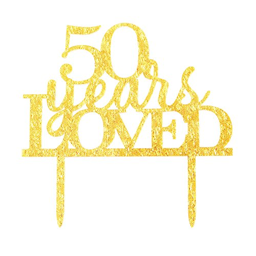 Glitter Gold Acrylic 50 Years Loved Cake Topper Decoration, 50th Birthday Anniversary Party Cupcake Topper Decor (50, gold)