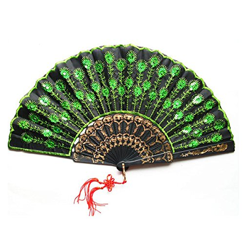 [Nuolux Folding Fan Peacock Pattern Silk Hand Fan with Green Sequins] (Fan Costumes)