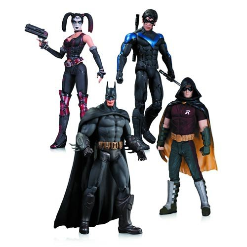 DC Comics Arkham City: Harley Quinn, Batman, Nightwing, & Robin Action Figure 4-Pack