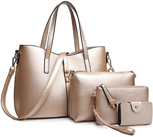 Dorado1 Women Shoulder Tibes Handbag Set Bag Purse Card Holder Fashion 4pcs Pu Black Leather Pu gq6rqIY