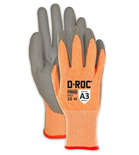 Lightweight Cut Resistant Polyurethane Coated Gloves   Cut Level A3 Work Gloves for Appliance Manufacturing, Assembly & Automotive (DXG22-6) - Orange/Gray, Size 6 (12 Pairs) ()