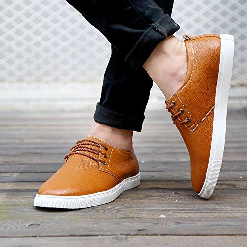 de Plano Amarillo Hombre Encajes cuero formales zapatos Ligero Durable Suave Los Comodidad CUSTOME Moda Zapatos Ocio ZtwqT0nZ