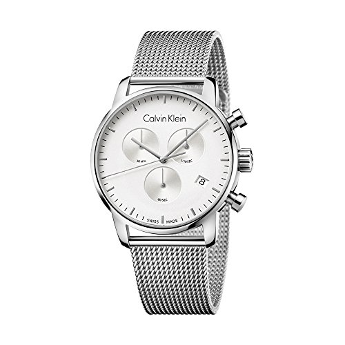 New Mens Calvin Klein City Silver Dial Chronograph 43mm Swiss ETA Quartz Watch K2G27126