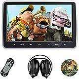 """Sonic Audio HR-10C Lecteur DVD universel avec écran 10,1""""/casque audio sans fil infrarouge/port USB/SD/HDMI à clipser sur l'appuie-tête de votre voiture"""