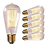 Vintage Edison Bulbs 60W Antique Classic Squirrel Cage Filament Incandescent Light Bulb E26 Base ST64 120V for Home Lighting Fixtures Lamp's Bulbs Warm White Dim 3000K 6PACK