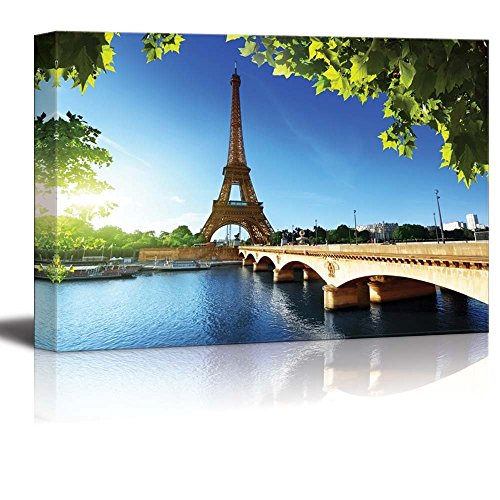 Canvas Prints Wall Art - Eiffel Tower Under Blue Sky, Paris France | Modern Home Deoration/Wall Decor Giclee Printing Wrapped Canvas Art Ready to Hang - 24