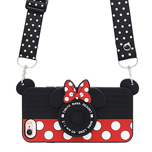 iPhone 6 Case, iPhone 6s Case, MC Fashion Cute 3D Polka Dots Minnie Mouse Camera Case for Teens Girls Women, Shockproof and Protective Soft Silicone Phone Case for Apple iPhone 6/6s