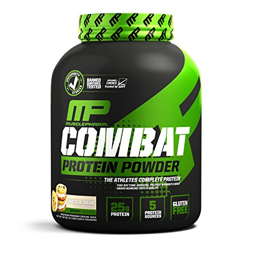 MusclePharm Combat Protein Powder, Essential Whey Protein Powder, Isolate Whey Protein, Casein and Egg Protein with BCAAs and Glutamine for Recovery, Cookies