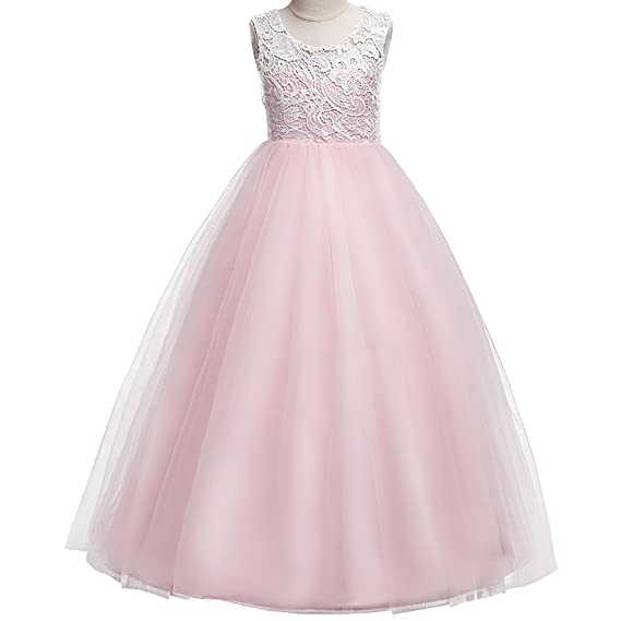 Review ZNYUNE Girls Dress Flower Lace Tulle Bridesmaid Party Wedding Maxi Floor Length Evening Ball Gowns
